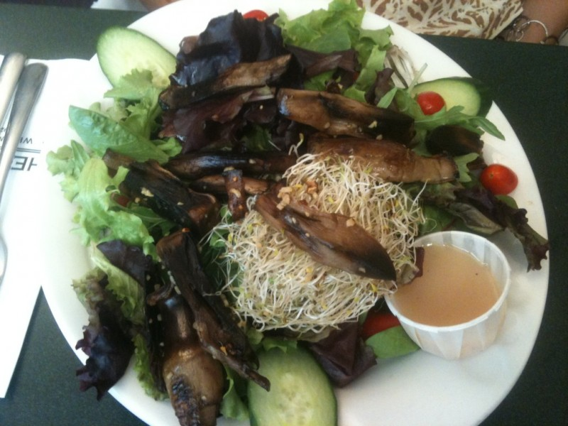 Portobello Mushroom Salad with Spinach, Mixed Greens, Alfalfa, Cucumbers and Grape Tomatoes
