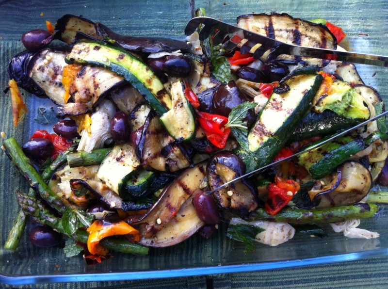 Grilled Asparagus, Eggplants, Olives, Red Peppers and Artichoke