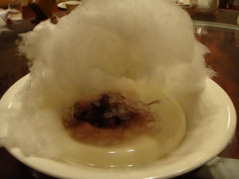 Cotton Candy on Top of Chinese Style Panna Cotta With Plum Sugar Crystals