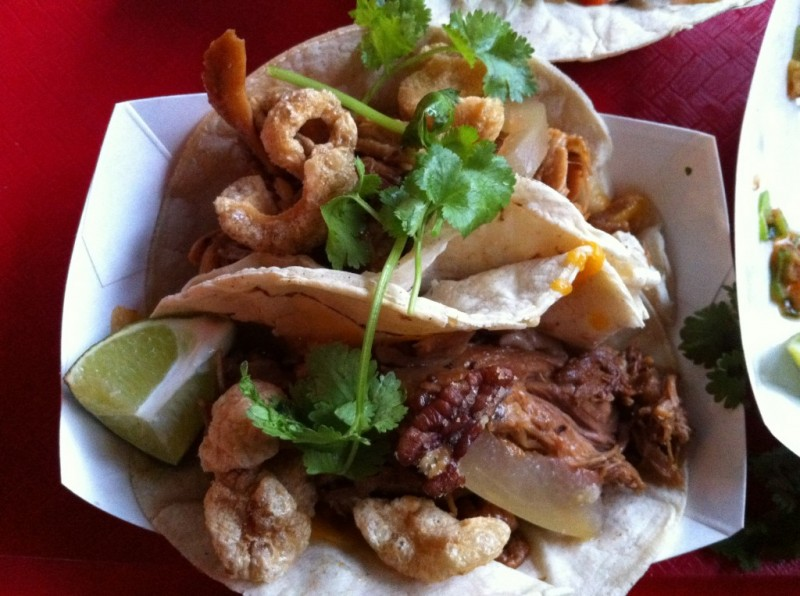 Pulled Pork Taco With Chicharones, Pickled Watermelon, Dr. Pepper Sauce and Coriander