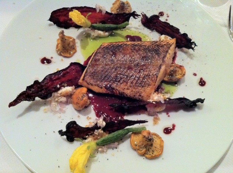 Confit of Char With Maple Syrup, Iced Beets, Sesame and Chanterelles