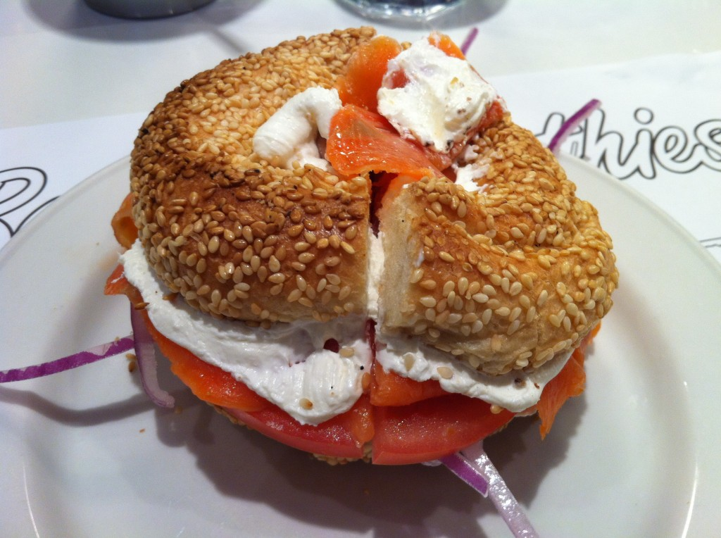 Beauty's Classic - Bagel With Smoked Salmon, Tomato, Onion and Cream Cheese