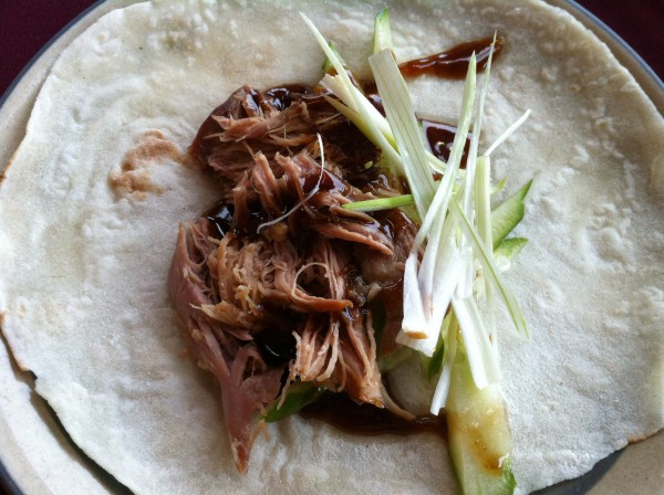 Duck With Cucumber, Hoisin Sauce on a Chinese Pancake