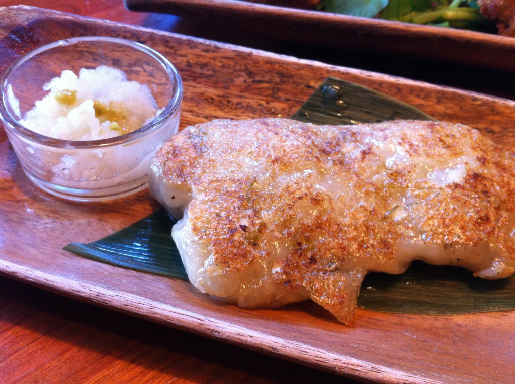 Daikon Mochi: Sticky rice cake with daikon radish, burdock root with grated daikon radish with yuzu pepper