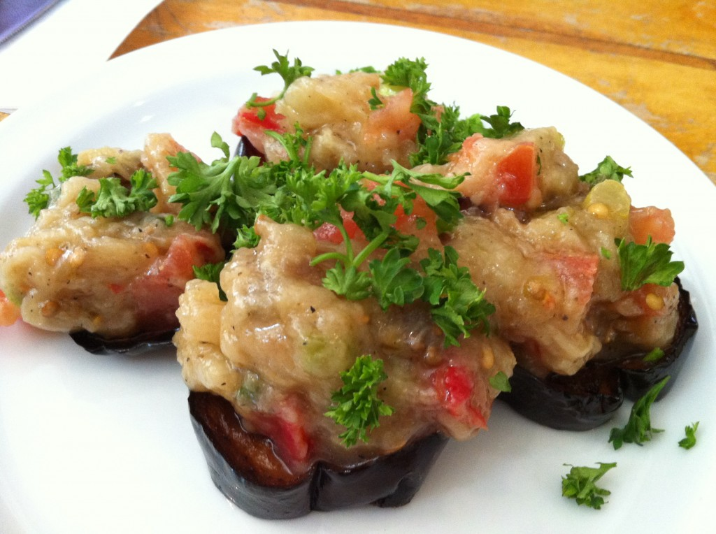 Grilled Eggplant with Paprika, Tomatoes and Green Onions