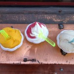 Mango Sorbet, Twisted Lemon and Strawberry Soft Serve, Masala Chai + Salted Butter Ice Cream