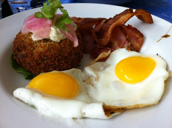 Crab Cakes With Sunny Eggs, Jalapeno Remoulade and Bacon