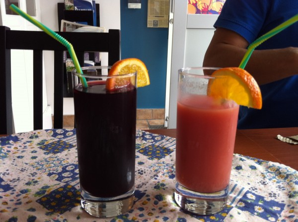 Chicha Morado (purple corn with pineapple, cinnamon, clove, sugar) and Guava Juice