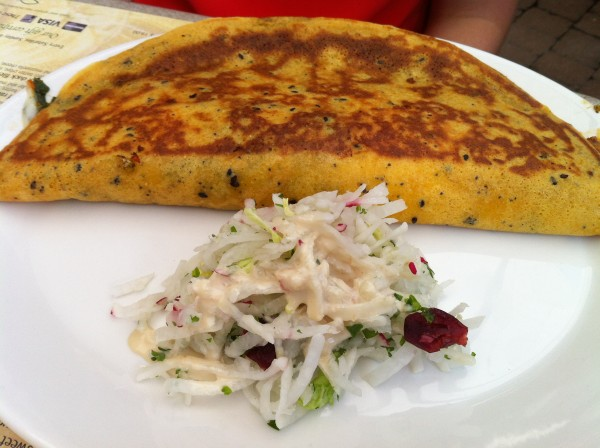 Du Jardin Crepe with Garden Vegetables, Basil, Olives, Corn