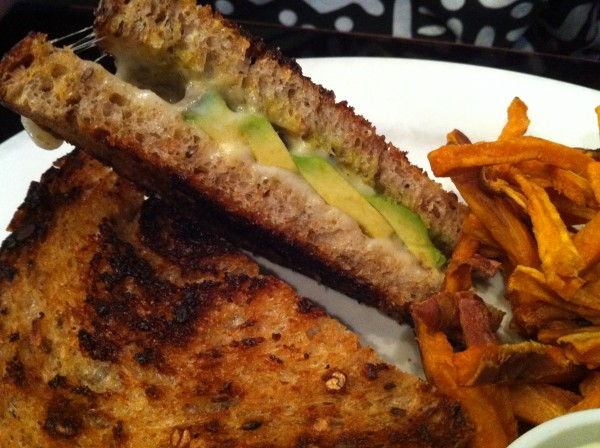 Jalapeno-Avocado-Havarti Grilled Cheese with Sweet Potato Fries and Wasabi Mayo