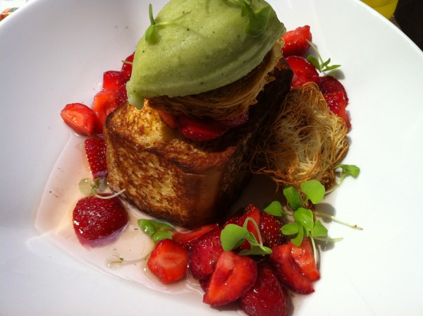 French Toast With Basil Sherbet, Basil Syrup and Strawberries