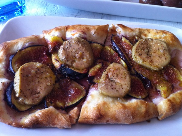 Foie gras, Figs and Fleur de Sel all on Fresh Focaccia