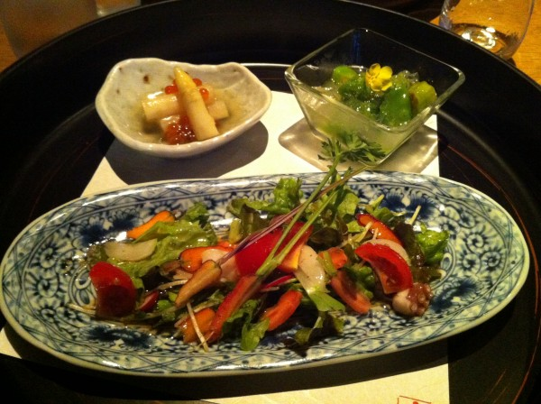 Zensai - White asparagus with ikura, octopus shabu shabu salad and natsu yasai with a dashi gelee