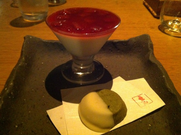Ichigo Panna Cotta topped with strawberry compote