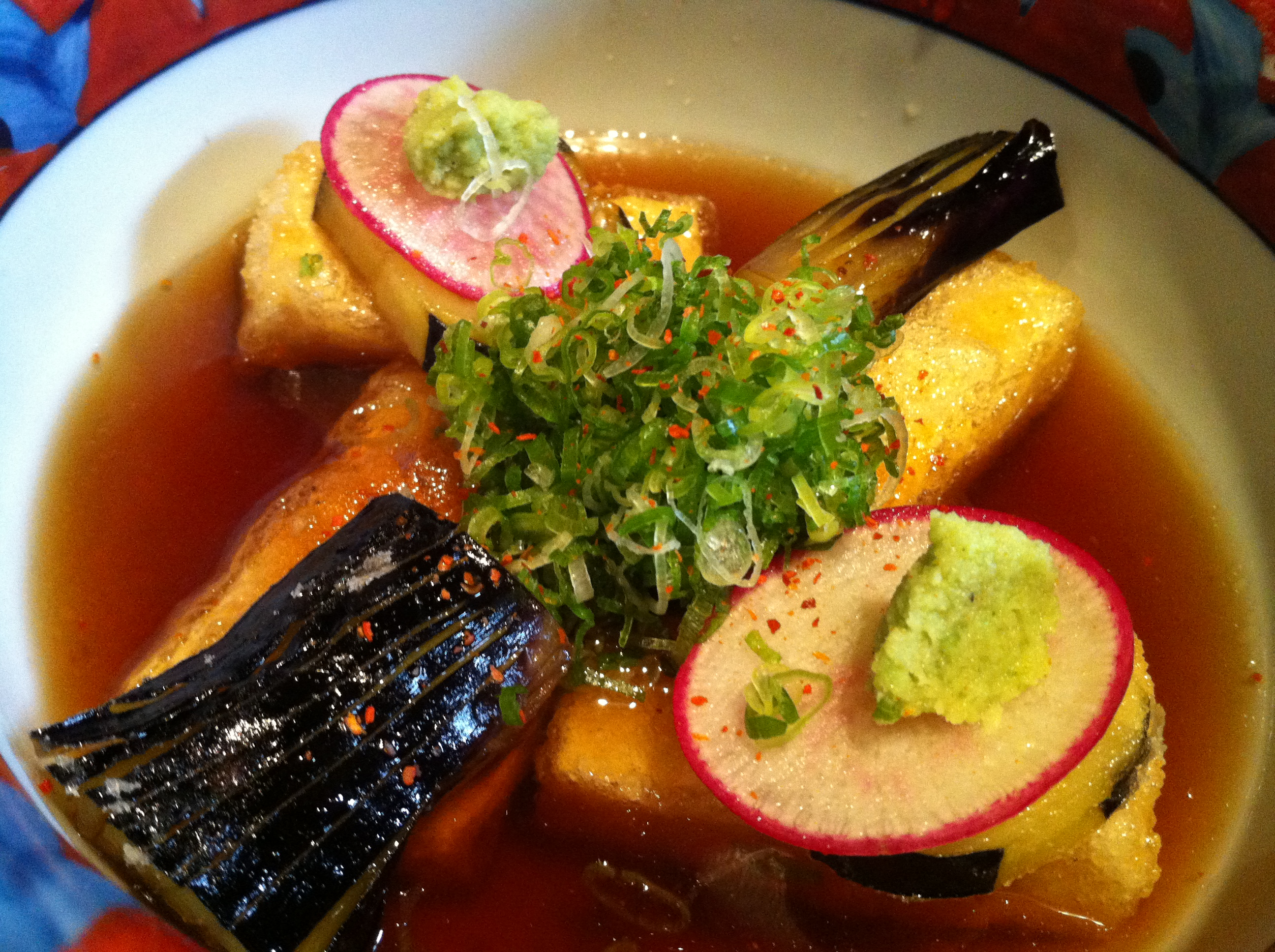Tofu and Nasu Agedashi - Flash-fried tofu and eggplant in dashi broth, topped with scallions and wasabi