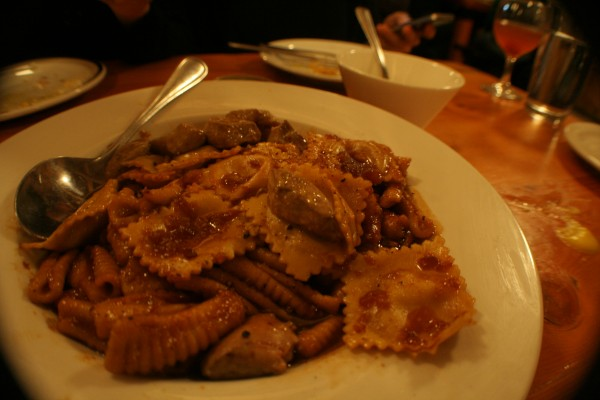 Cavatelli and Liver Stuffed Ravioli Topped With Foie Gras Soaked in an Apple Based Sauce