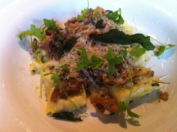 Agnolotti stuffed with chesnut polenta, sage and wild mushrooms