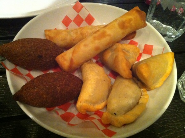 Fried Cheese Rolls, Fried Kibbe Meatballs, Lemony Spinach Pastries, Onion and Pomegranate Pastries