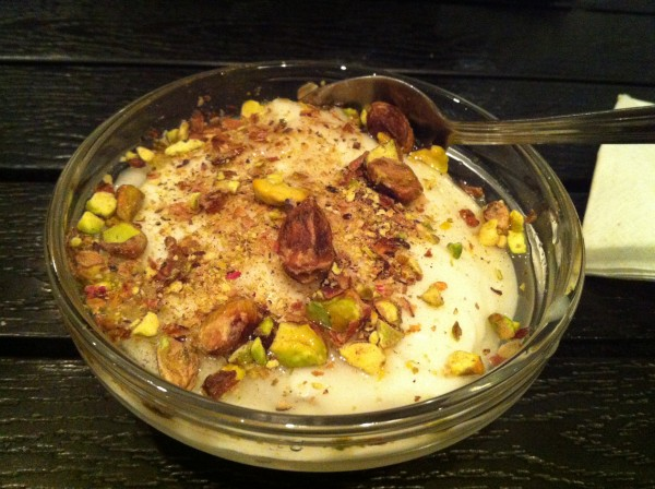 Mouhallabie - Milk pudding perfumed with orange blossom and topped with pistachios