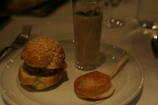 Beef Tartare On a Home Made Brioche Bun, a Grilled Cheese Lollipop and a Jerusalem Artichoke Soup Shooter