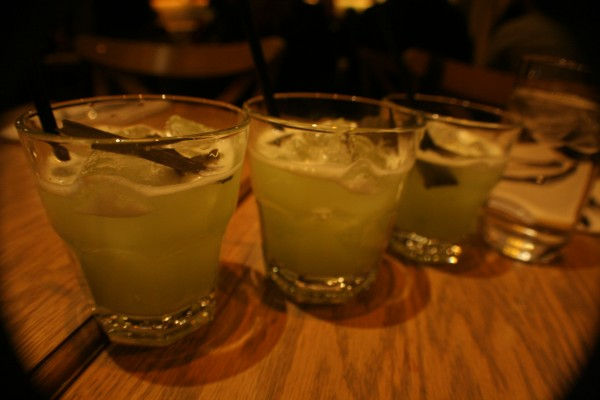 The Good, The Bad and The Ugly: Chartreuse, Midori Melon Liquer, Cardamom, Green Tea Syrup, Egg Whites, Seaweed