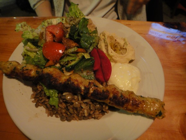 Omnivore with Chicken Kefta, Salad, Hummus, Garlic