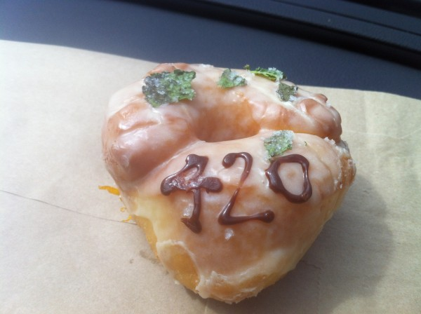 420 Mint and White Chocolate Donut