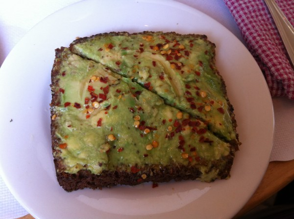 cafe gitane Smashed Avocado on 7 Grain Toast with Chili Flakes