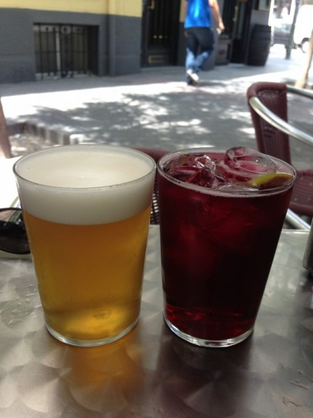 Beer and Sangri Tinto Verrano