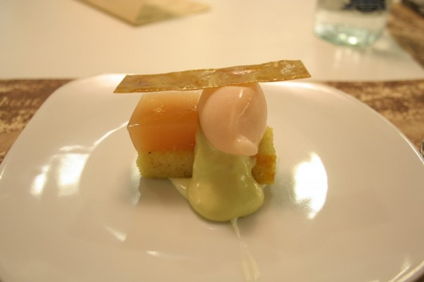 Espaisucre Extra Virgin Olive Oil Cake, White Peach, Green Olive and San Simon