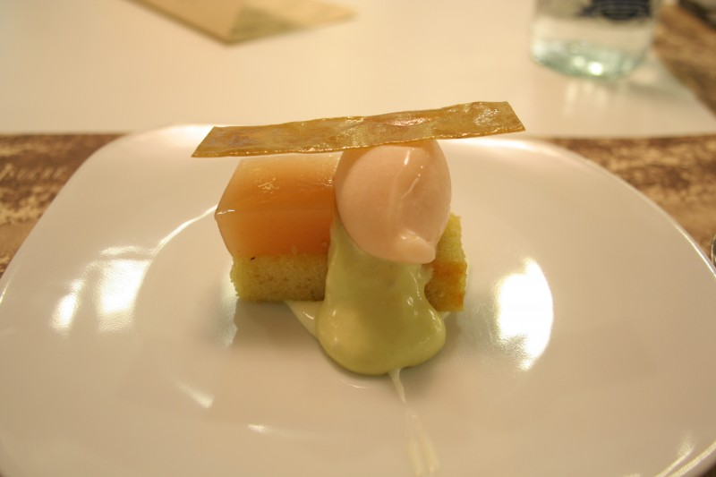Extra Virgin Olive OIl Cake, White Peach, Green Olive and San Simon