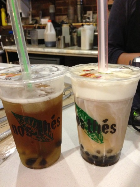 nos thes montreal Rose Oolong Tea With Mango Jelly and Tiny Bubbles, Wintermelon Bubble Tea