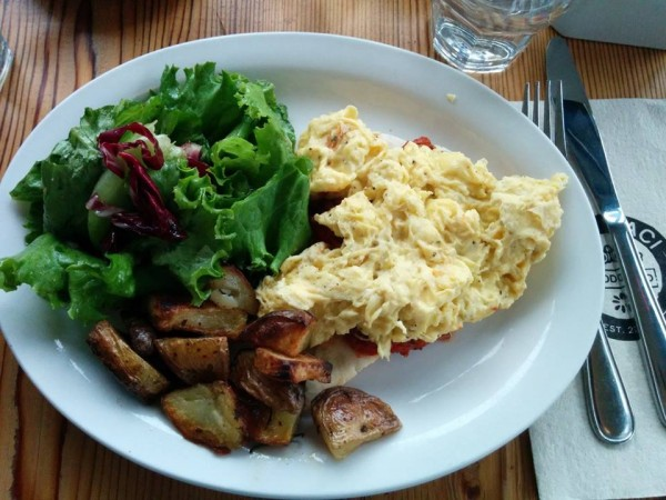 Lil' Baci Taverna Toronto Pork and Beef Ragu with Scrambled Eggs, Salad and Duck Fat Potatoes