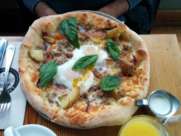 Lil' Baci Taverna Toronto Pizza Festa: Potatoes, Two Sunny Eggs, Pancetta, Sausage