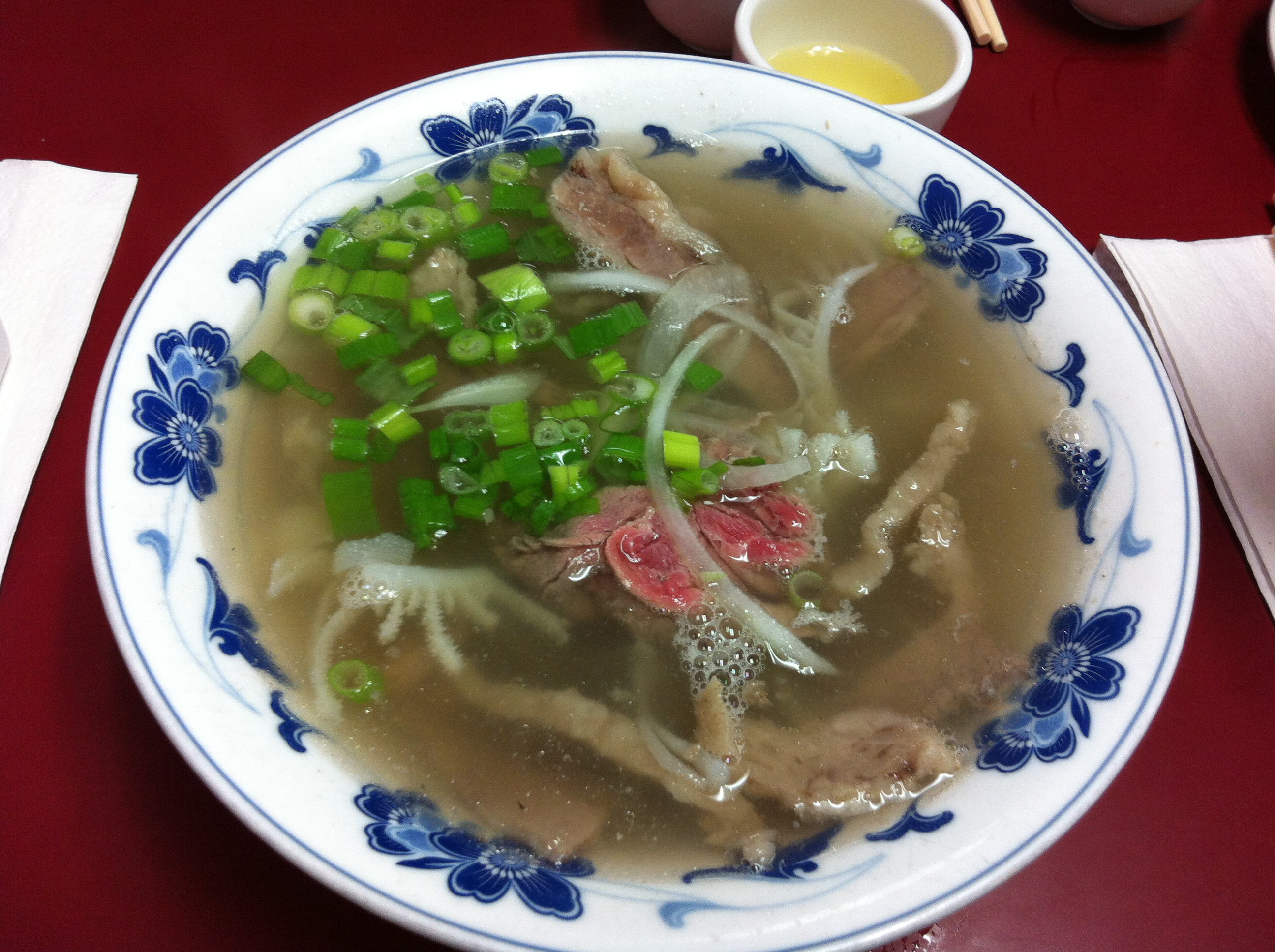 Tendon, Tripe, Rare Beef, Eye of Round Beef Pho
