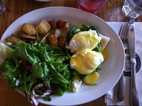 Eggs Fiorentina: Poached Eggs, Spinach, Lemon Truffle Hollandaise