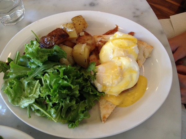 Lil' Baci Taverna Toronto Eggs Benedetto: Two poached eggs, Crispy pancetta.