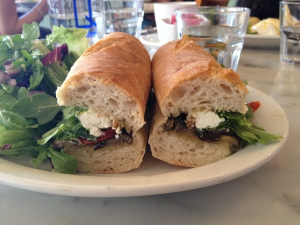 Lil' Baci Taverna Toronto Eggplant Sandwich with Roasted Pepper, Goat Cheese