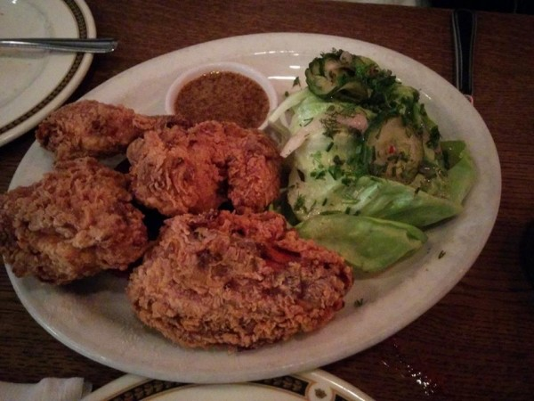 Fried Chicken and Verscht Maple and Mustard Dip, Butter Lettuce Salad