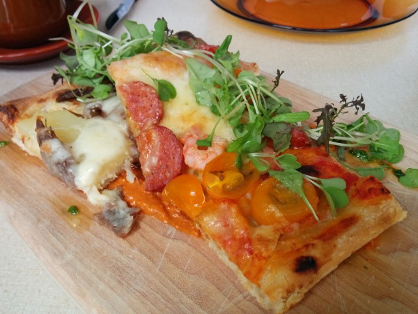 Chorizo, Shrimp, Arugula, Mascarpone and Parm Pizza + Wild Mushroom Pizza with Bacon, Truffle Oil, Cheddar