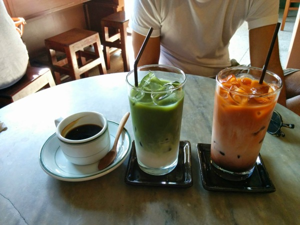 Americano, Matcha Milk Tea, Thai Iced Tea