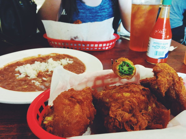 """America's Best Fried Chicken"", Fried Okra, Red Beans"