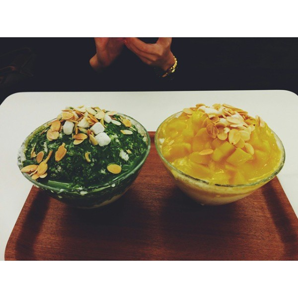 Green Tea and Mango Bingsoo at La Painnamou